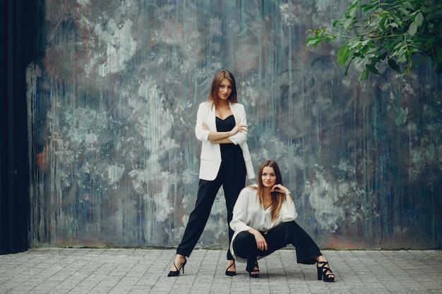 Fashion girls in a city
