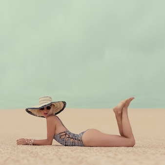 Fashion glamorous lady on vacation at the beach
