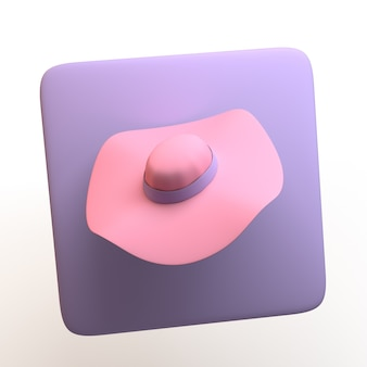 Икона моды с шляпой, изолированные на белом фоне. приложение. 3d иллюстрации.