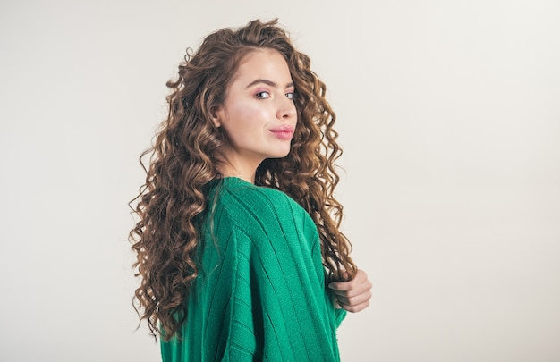 Fashion look and beauty concept retro girl with stylish makeup and hair in paris girl with curly hai...