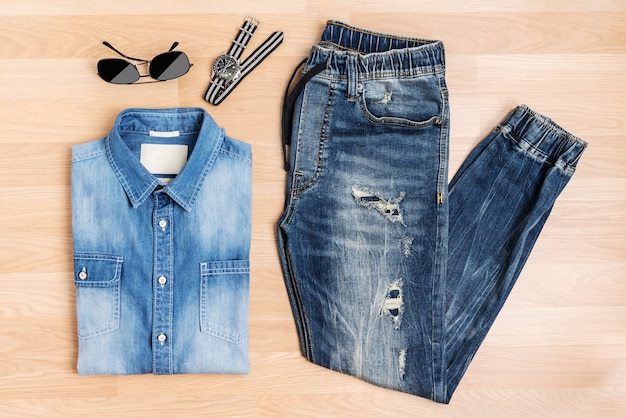 Fashion men and accessories new trendy blue jeans