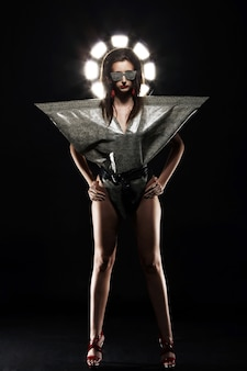 Fashion model in stylish snake image