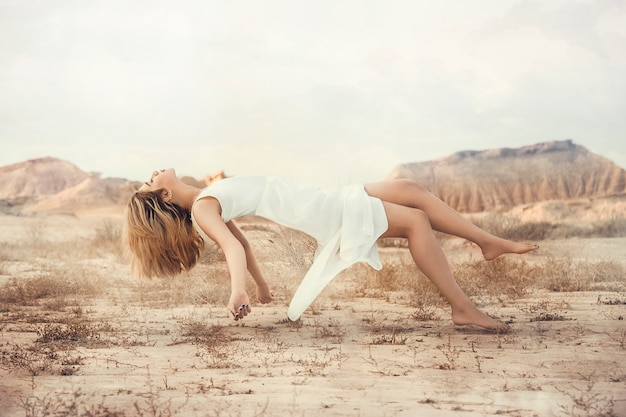 Fashion model in white dress, flying illustration