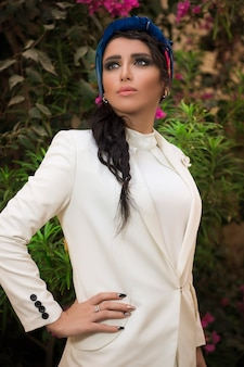 Fashion model in white lace shirt