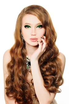 Fashion model woman with makeup and hairstyle