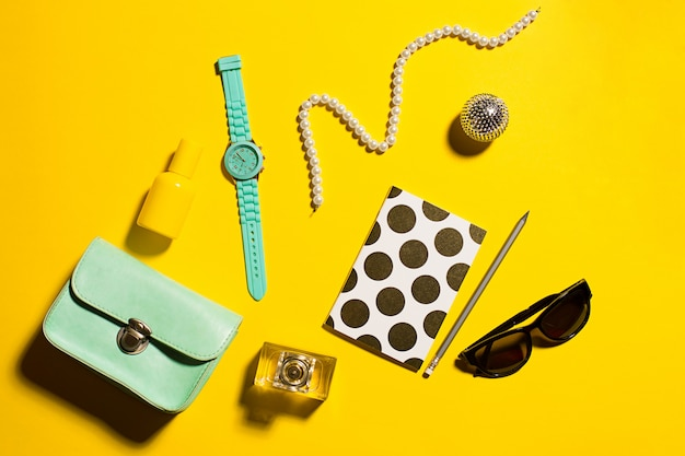 Fashion objects on yellow