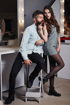 Fashion photo of beauty salon romance of lovers