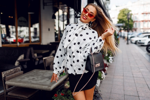 Fashion photo of sexy beautiful model with in trendy outfit.