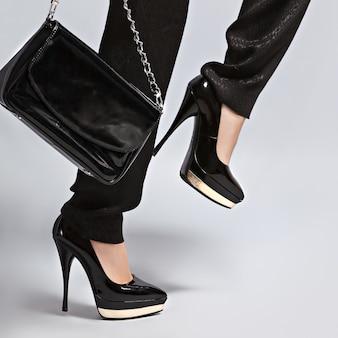 Fashion photo woman on hight heel