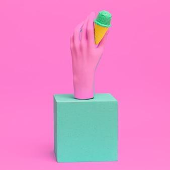 Модная розовая рука и поддельное мороженое. минимальное пластиковое искусство