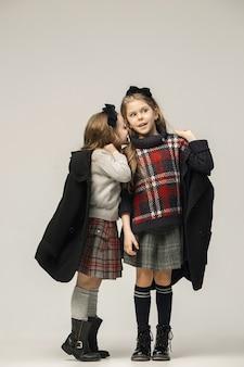 The fashion portrait of young beautiful teen girls