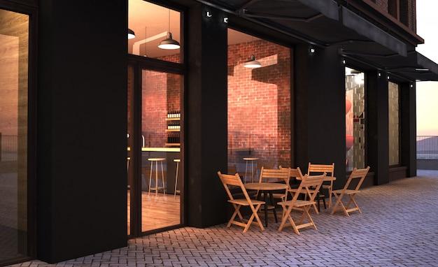 Модное ретро кафе на террасе магазина