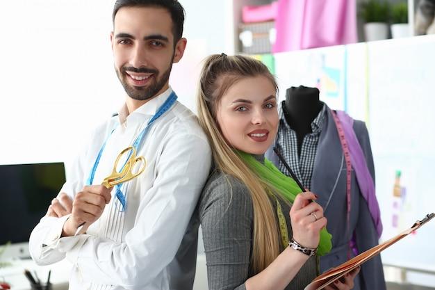 Fashion sewing or dressmaking teamwork concept