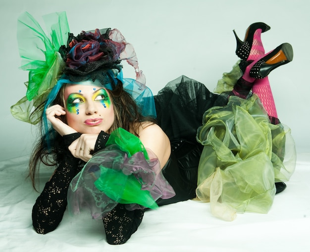 Fashion shot of woman in doll style