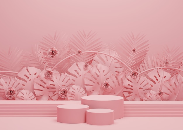 熱帯のヤシの葉とモンステラ植物のファッションショーのステージ表彰台。製品ショーの空のシーン。夏の時間の背景