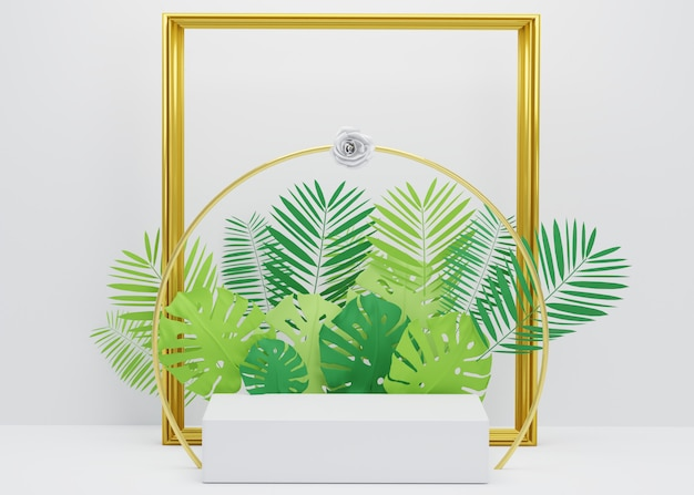 Fashion show stage podium with tropical palm leaves, golden frame and monstera plant. empty scene for product show. summer time background
