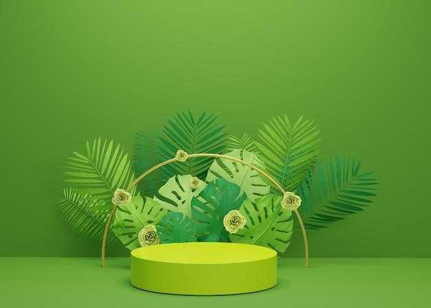 Fashion show stage podium with tropical palm leaves and monstera plant. empty scene for product show. summer time background