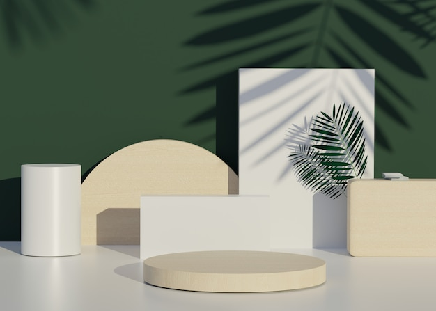 Fashion show stage podium with tropical palm leaves shadows and monstera plant. empty scene for product show. summer time background