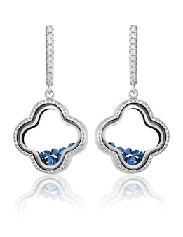 Fashion silver earrings with blue stones inside on a white background
