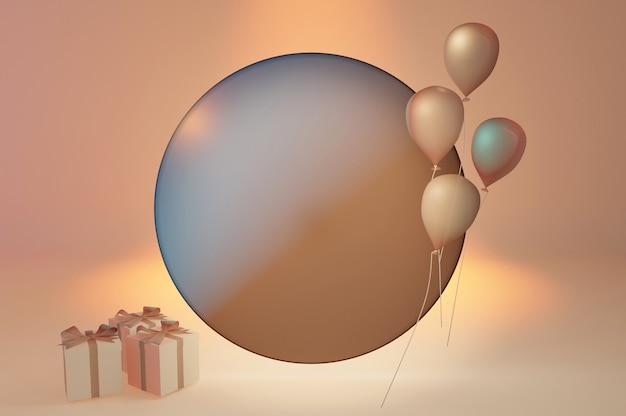 추상적인 모양과 풍선이 있는 세련된 템플릿, 누드 파스텔 색상의 선물 상자. 텍스트 및 로고를 위한 원형 공간