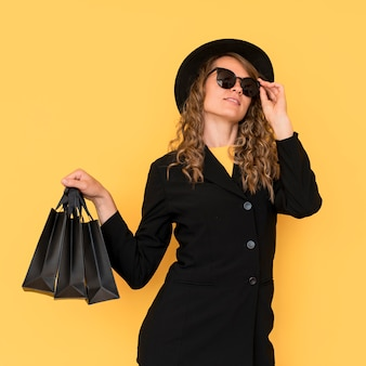 Fashion woman wearing black clothes
