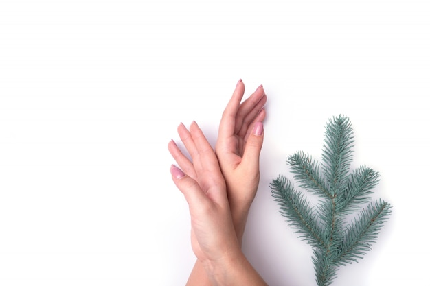 Fashion, women's hands with manicure, nail care, christmas tree twigs