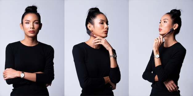 패션 젊은 아시아 트랜스젠더 여성 얇은 검은 머리 아름다운 메이크업 패션 검은 긴 소매 드레스 포즈, 메이크업 아티스트. 스튜디오 조명 흰색 배경, 콜라주 그룹 팩