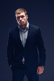 Fashion young man in luxury suit