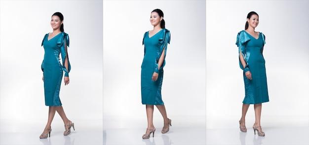 Мода молодая худощавая азиатская женщина загорелая кожа, глаза, каштановые волосы, красивые составляют модное голубое платье изумрудного цвета, создающее привлекательный гламурный мокрый взгляд. студийное освещение белый с серого фона, групповой пакет коллаж