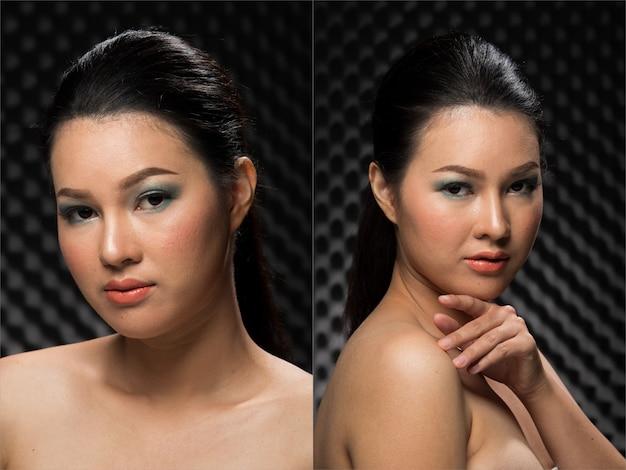 Мода молодая тонкая азиатская женщина желтая кожа глаза каштановые волосы красивые составляют мода, создавая привлекательный гламурный мокрый взгляд. студийное освещение звукоизоляция темный фон коллаж групповой пакет