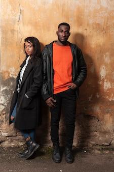 Fashionable afroamerican couple full shot