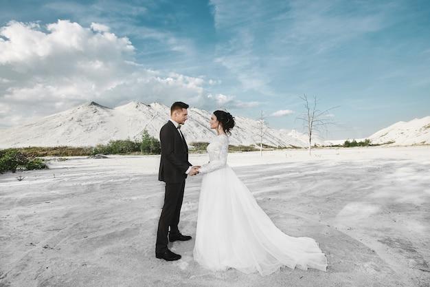 おしゃれで美しいカップル、スタイリッシュな髪型、白いレースのドレスでセクシーな美しいブルネットモデルの女の子と塩の砂漠で屋外でポーズトレンディなスーツのスタイリッシュなハンサムな男性