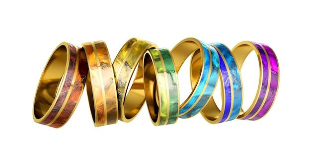 宝石で飾られたファッショナブルなブレスレット。 3dイラスト、3dレンダリング。