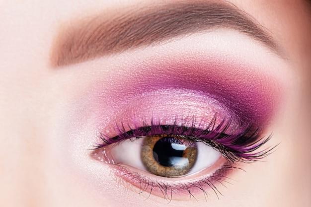 Fashionable bright eye makeup close-up.