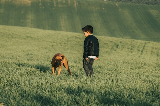 Fashionable child in leather coat. stylish little boy with a dog in the countryside