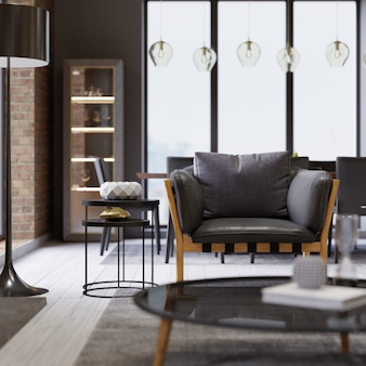 Fashionable designer leather armchair with a black floor lamp in loft-style apartments. 3d rendering