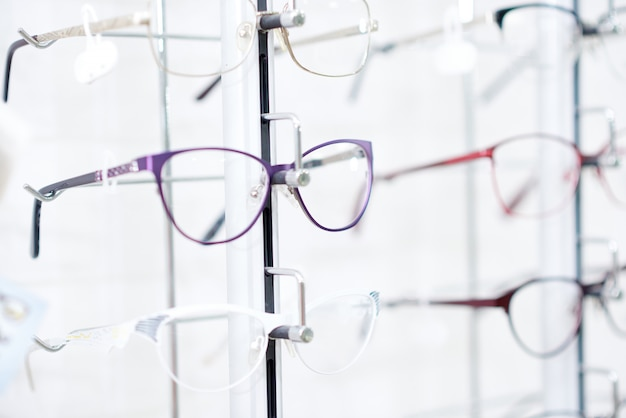 Fashionable eyeglasses in fashionable frame.