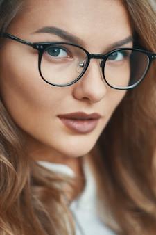 Fashionable eyewear model close-up portrait