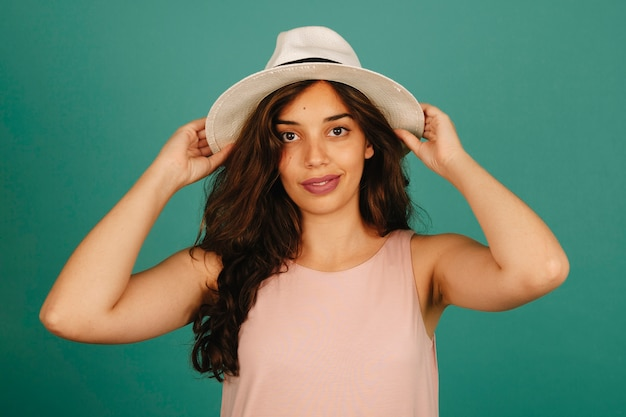 Fashionable girl with hat