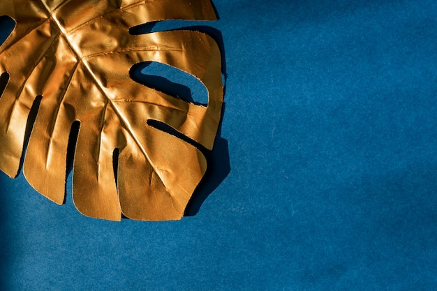 Fashionable luxuary blue background with gold monstera leaf. copy space for text