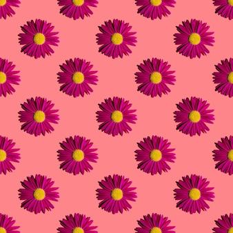 유행 여름 꽃 패턴입니다. 분홍색 배경에 밝은 핑크 데이지