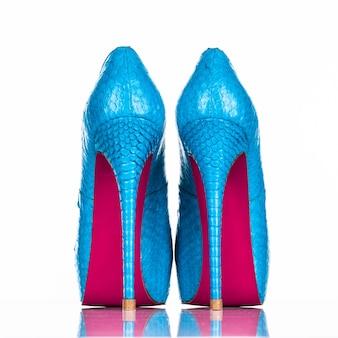 Scarpa tacco alto della donna alla moda isolata su priorità bassa bianca. bello pattino femminile blu dei tacchi alti. lusso. vista posteriore di scarpe da donna tacchi alti