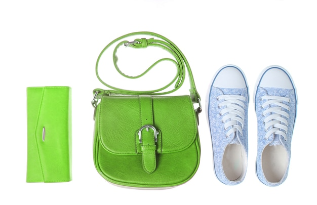 Fashionable women bag, purse, sneakers isolated