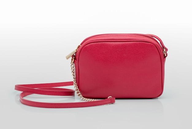 Fashionable women's handbag on a white background, studio shooting