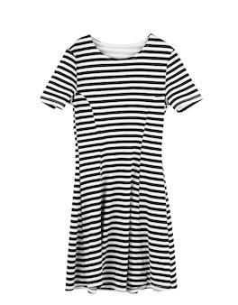Модное женское полосатое платье на белом фоне