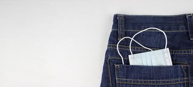 Лицевая маска для профилактики коронавируса covid-19 2019-ncov в джинсах.