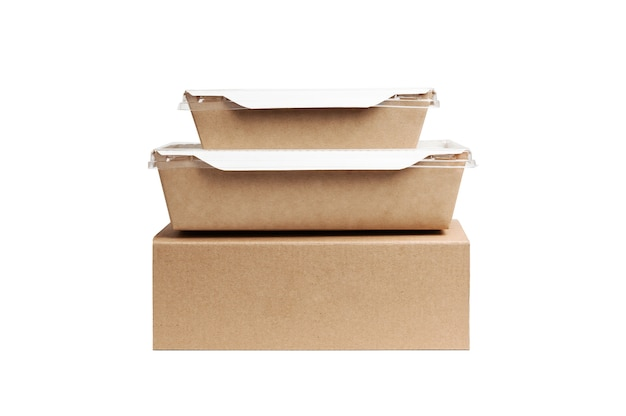 Fast conveyance in city. cardboard lying on top of each other. food box delivery service.