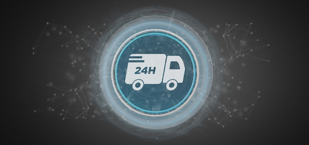 Fast delivery buton with connection 3d rendering