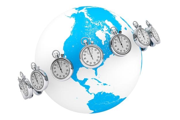Концепция быстрой доставки. секундомер с глобусом на белом фоне