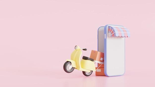 携帯電話のスクーターによる短納期パッケージ。アプリでeコマースのパッケージを注文します。宅配便の追跡アプリケーション。コンセプト。 3dレンダリングのイラスト。